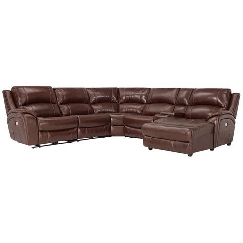leather reclining sectional with chaise city furniture memphis medium brown leather right chaise