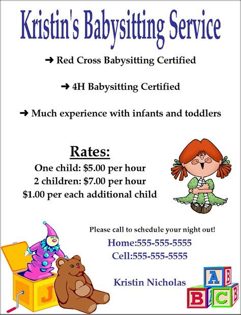 templates for flyers in word babysitting flyer template word google search kenzie