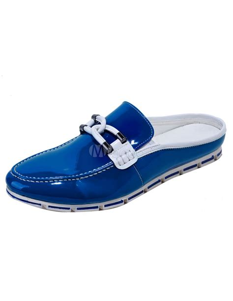 backless athletic shoes popular shellac leather strappy backless mens loafer shoes