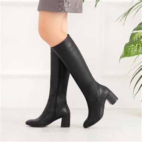 ravolan siyah kalin topuklu uzun cizme