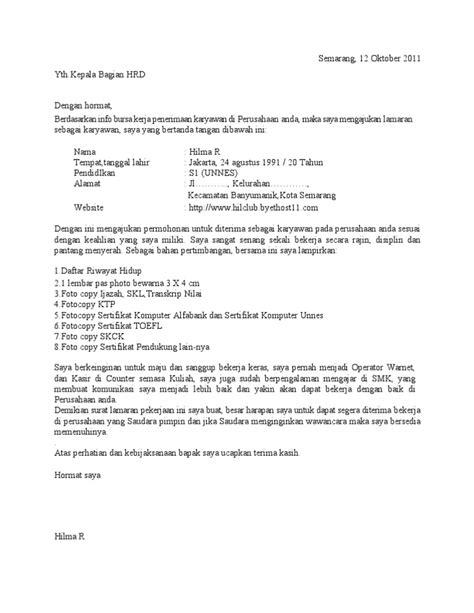 contoh surat lamaran kerja tanpa mengetahui nama perusahaan ben