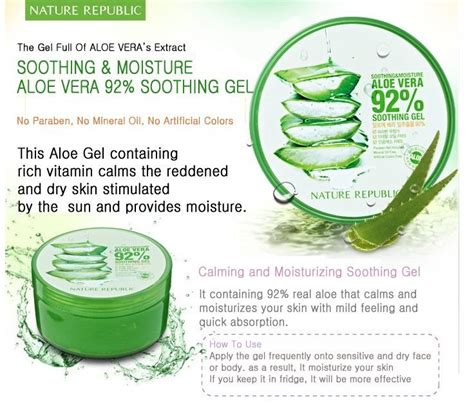 Nature Republic Aloevera 92 Soothing Gel Original Nature Republic Soothing Moisture Aloe Vera 92 Soothing
