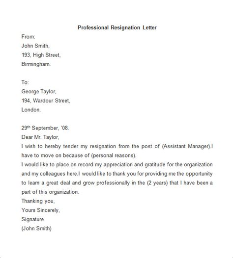 Professional Resignation Letter Format by Resignation Letter Template 25 Free Word Pdf Documents Free Premium Templates
