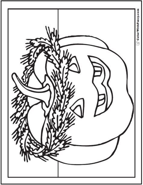 Interesting Wreath And Jack Oulantern Pumpkin Coloring The Pumpkin King Coloring Pages