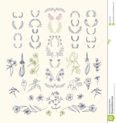 design elements symmetry set of symmetrical floral graphic design elements stock