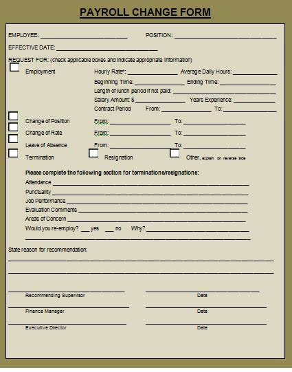 payroll change form template free payroll status change form template choice image