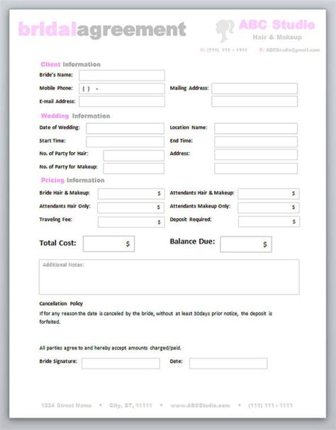 invoices freelance makeup artist contract templates mugeek