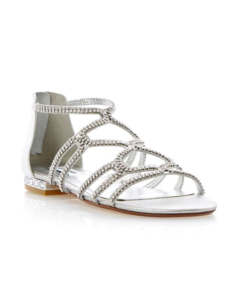 Silver Sandals For Wedding by Dune Kym Caged Diamante Flat Sandals In Metallic Lyst