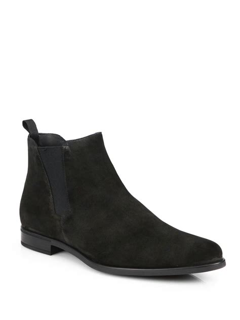 black suede boots mens prada suede chelsea boots in black for lyst