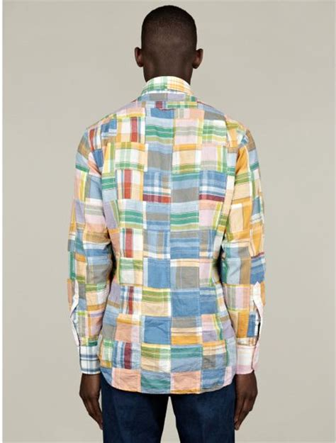 thom browne mens classic buttondown patchwork madras shirt
