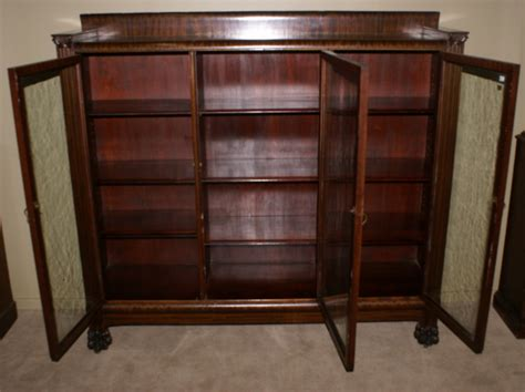 antique bookcases with glass doors paw foot antique mahogany glass door bookcase