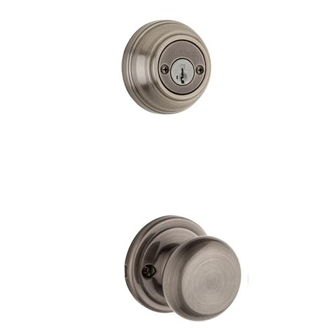 Kwikset Interior Door Knobs Shop Kwikset Hancock 1 3 4 In Antique Nickel Smartkey Cylinder Knob Entry Door Interior