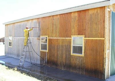 Painting T 111 Siding by Pressure Washing Stained Siding