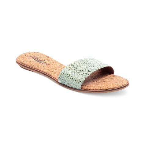 slide sandals lucky brand corina flat slide sandals in blue lyst