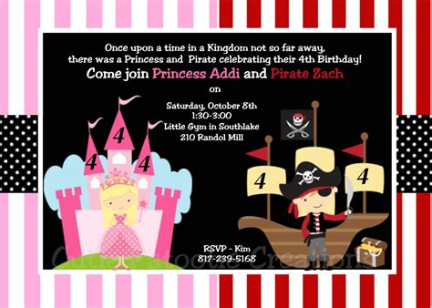 free princess and pirate invitation template pirate and princess invitations template home