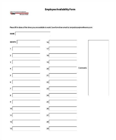 work availability form template sle employee availability forms 9 free documents in