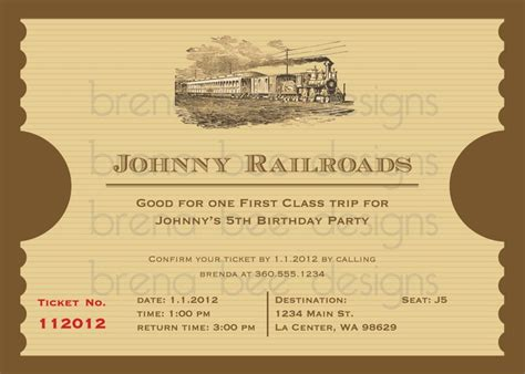 printable custom tickets free 12 best images about train ticket invitations on pinterest