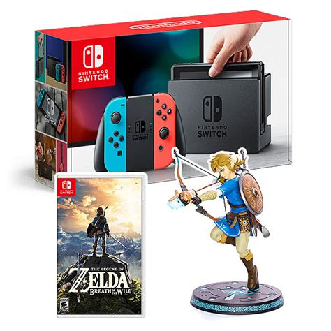 Switch Hori Breath Of The Stater Kit nintendo switch blue w botw link statue thinkgeek