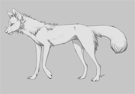 thin canine fox shaded lineart free by mutedmutt on