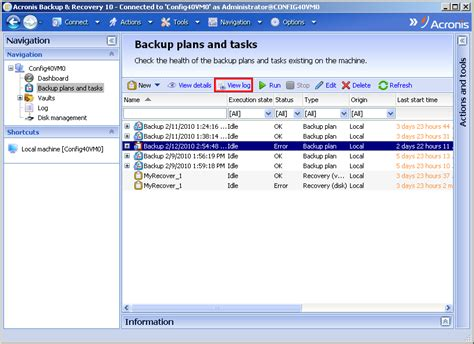 acronis console acronis backup recovery 10 exporting operation log