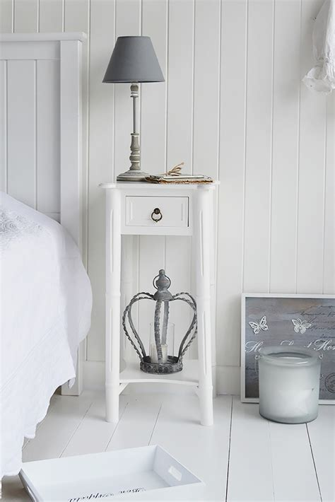 bedside l ideas a narrow tall white bedside table with drawer new england