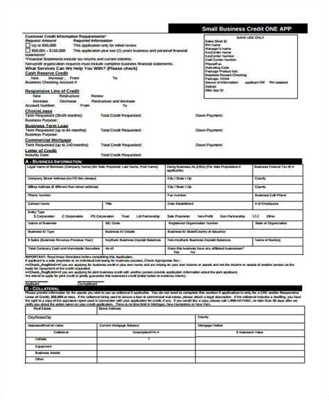 business credit application form template 15 credit application form templates