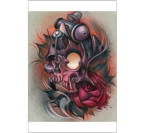 new school rose tattoo design skull machine by timmy b new school design