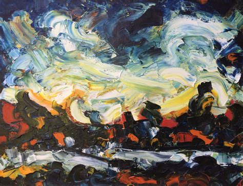 Painting K by Hubert Roestenburg Landscape With Ghost German Expressionism
