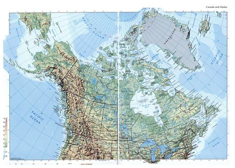 map us canada alaska large elevation map of canada and alaska with roads and