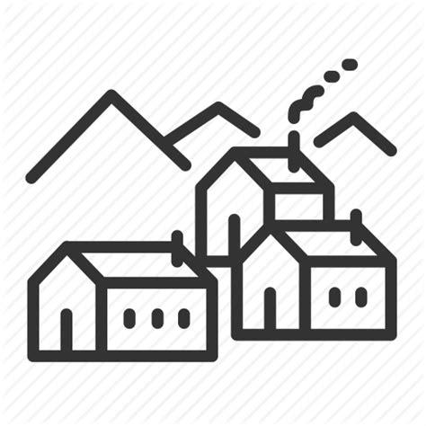 Farmhouse Or Farm House by Country Dorp Farmhouse Rural Town Village Ville Icon
