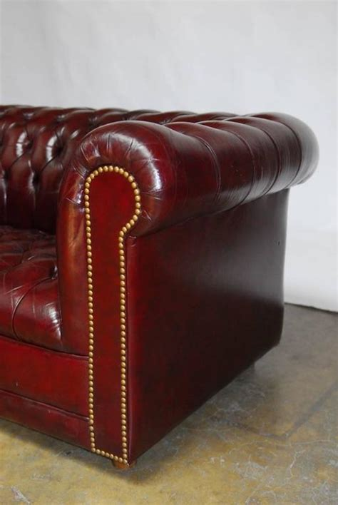 cordovan leather sofa english cordovan tufted leather chesterfield sofa for sale