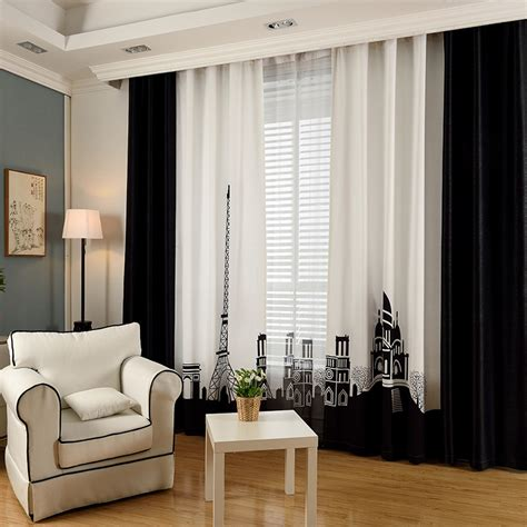 Black And White Thermal Curtains Black And White Color Block Patterned Insulated Curtains For Windows