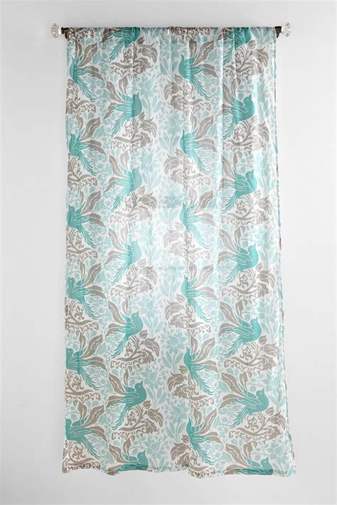 teal bedroom curtains bird flourish curtain