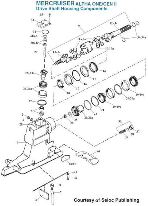 mercruiser alpha sterndrive drive shaft housing components