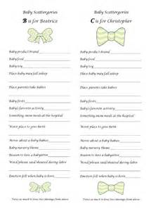 baby scattergories baby shower free printable