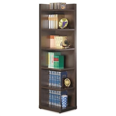 Coaster Corner Bookcase Corner Bookcase With Open Side In Cappuccino 800270