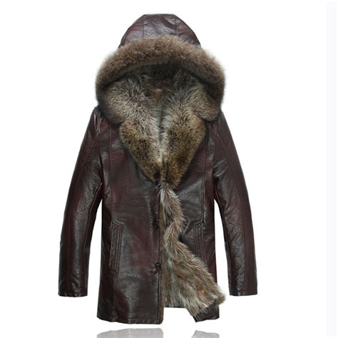 Leather Jaket Exclusive Leather Hoodie leather jackets with fur collar sheepskin luxury raccoon fur lined leather jacket 2016