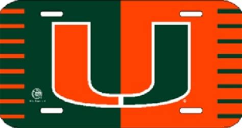 um colors miami hurricanes u logo um green orange plastic license