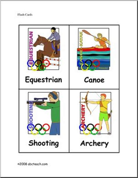 flashcards summer olympics elem color abcteach