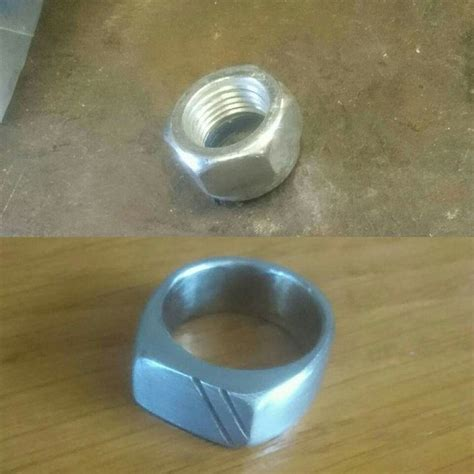 Make Handmade Rings - homade ring from m16 hex nut size 18 5 mm