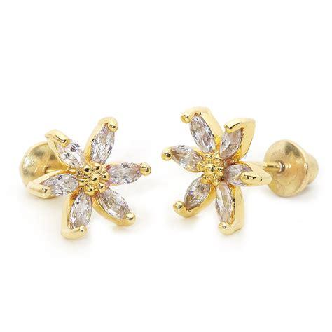Popits Charm Flower Child 14k gold plated marquise flower children screwback baby earrings ebay