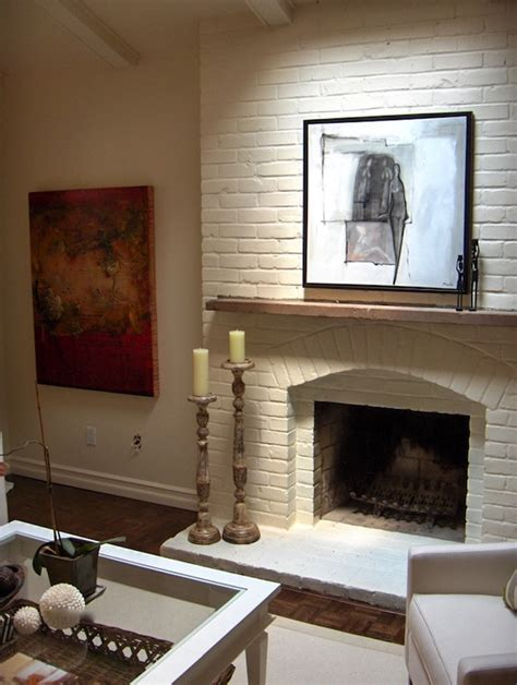 White Painted Fireplaces by White Brick Fireplace Transitional Living Room