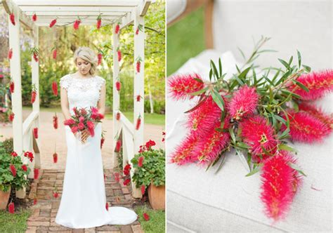 Red Boquuet   Anemones and Bottlebrush   Bouquet Wedding