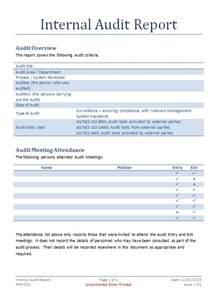 Sample Internal Audit Report Template internal audit report template internal audit documents