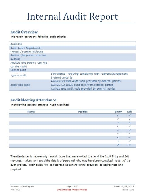 audit report template audit documents