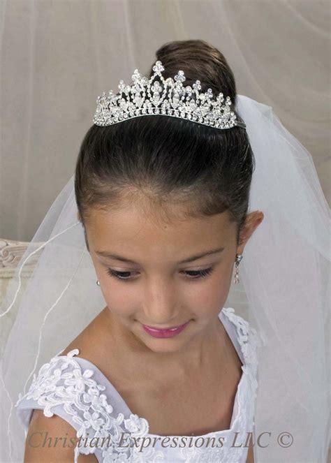 communion hairstyles with headband veil pinterest