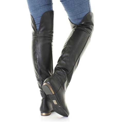 flat thigh high leather boots cr boot