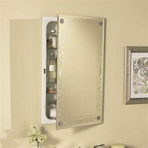 Venetian Engraved Beveled Mirror Bathroom Medicine Cabinet