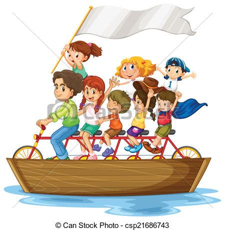 boat ride drawing eps vector of children on boat illustration of children