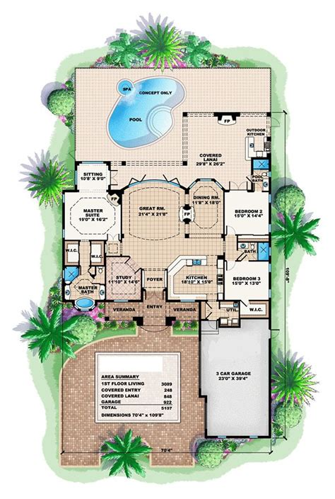 florida house plans florida mediterranean house plan 60519
